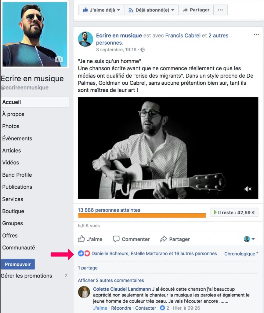 Facebook pour les musiciens artistes